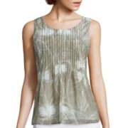 Liz Claiborne® Sleeveless Mesh Pleated Top - Tall
