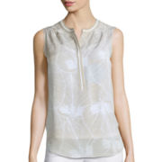 Liz Claiborne® Sleeveless Piped Henley Blouse