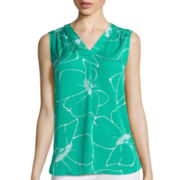 Liz Claiborne® Sleeveless Floral Blouse - Tall