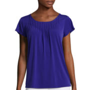 Liz Claiborne® Short-Sleeve Flutter Sleeve Pleated Knit Top