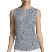 Liz Claiborne® Sleeveless Pleated Top