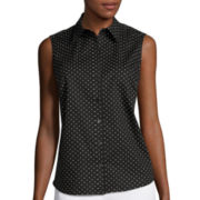 Liz Claiborne® Sleeveless Button-Front Shirt