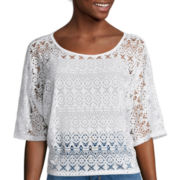 Bisou Bisou® Dolman-Sleeve Crochet Top