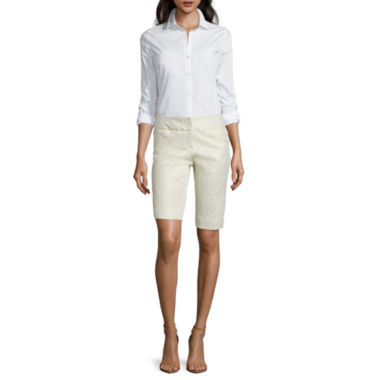 jcpenney.com | Worthington® Long-Sleeve Essential Shirt or Sateen Bermuda Shorts