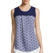 St. John's Bay® Sleeveless Crochet Trim Top