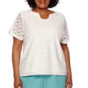 Alfred Dunner® Short-Sleeve Lace Front Tee - Plus