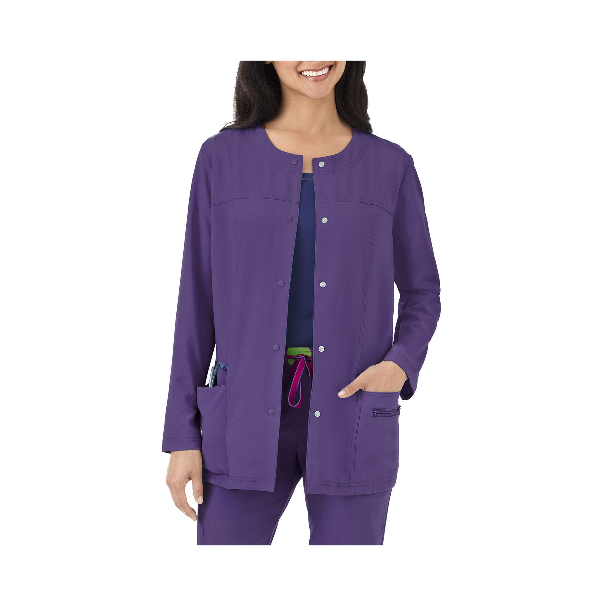Jockey Womens Modern Snap-Front Scrub Jacket plus size,  plus size fashion plus size appare