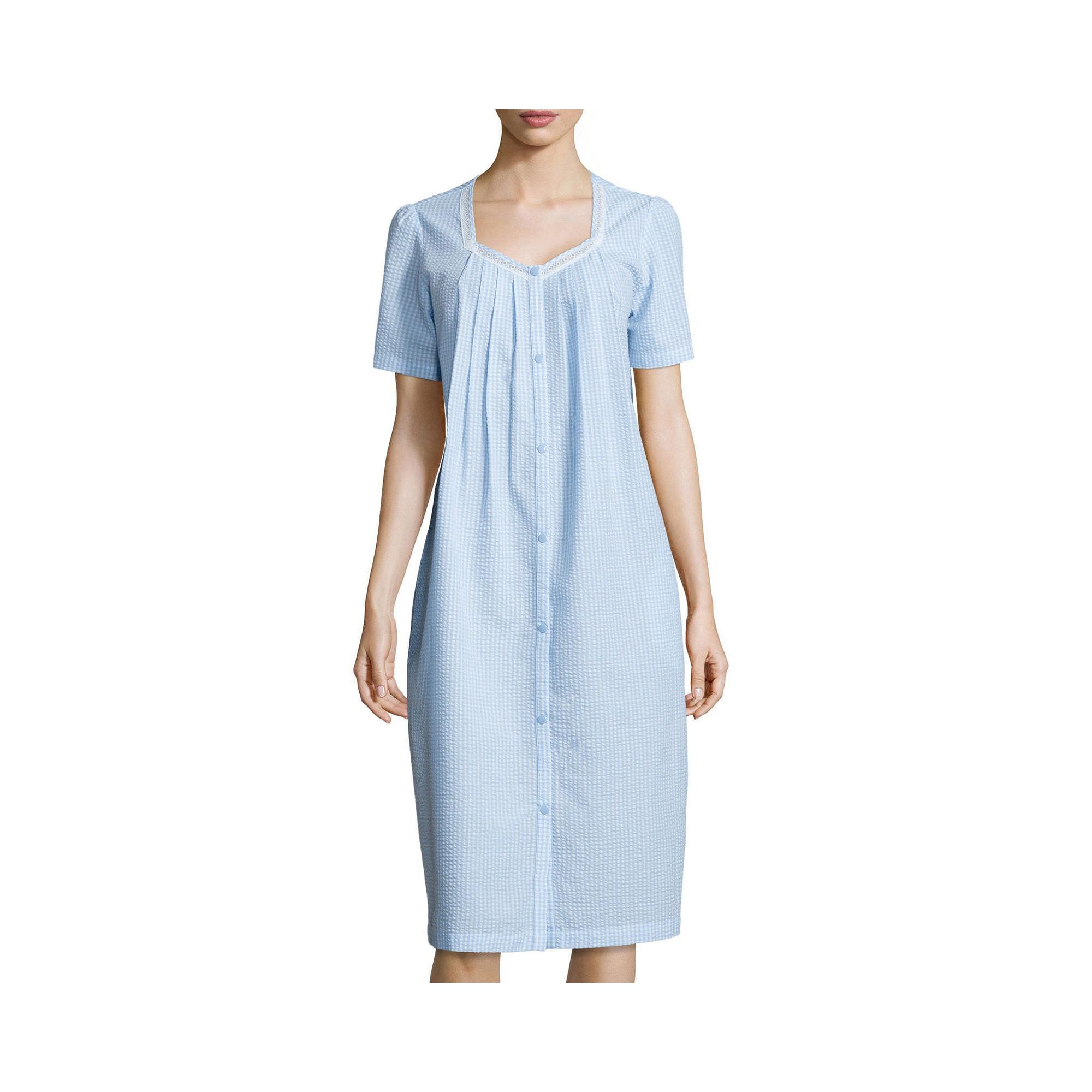 Adonna Lace-Trim Seersucker Caftan plus size,  plus size fashion plus size appare