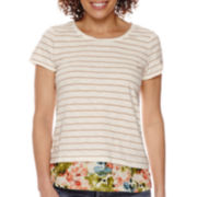 St. John's Bay® Short-Sleeve Knit Layered Tee - Petite