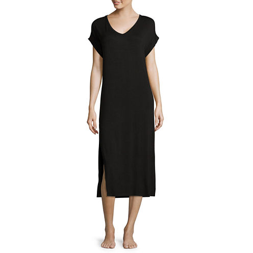 Ambrielle® Short-Sleeve Side-Slit Nightshirt