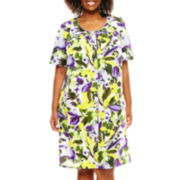 Adonna® Short-Sleeve Snap-Front Caftan - Plus