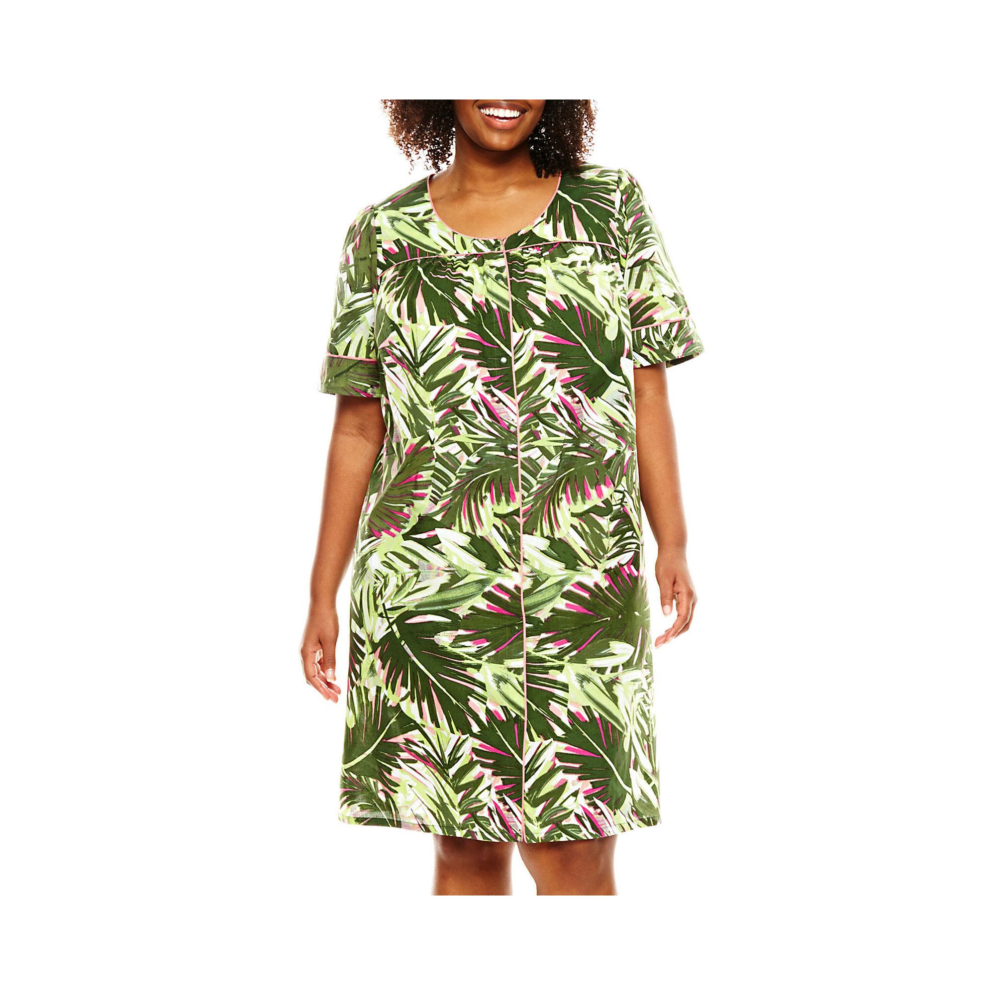 Adonna Short-Sleeve Snap-Front Caftan - Plus plus size,  plus size fashion plus size appare