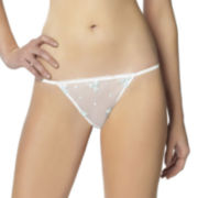 Jezebel Maggie Mini Floral Embroidered Tulle Thong Panties
