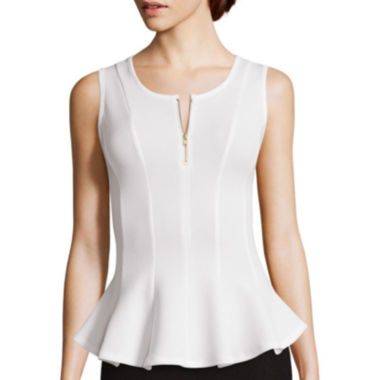 jcpenney.com | by&by Sleeveless Textured Knit Zipper Peplum Shirt