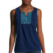 St. John's Bay® Short-Sleeve Embroidered Tank Top