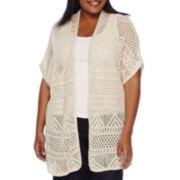 St. John's Bay® Short-Sleeve Crochet Cardigan - Plus