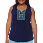 St. John's Bay® Embroidered Bib Cotton Tank Top - Plus
