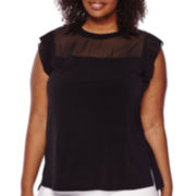 Worthington® Sleeveless Pleated Mixed Media Top - Plus
