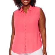 Worthington® Sleeveless Button-Front Scalloped Blouse - Plus
