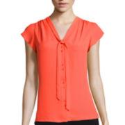 Worthington® Short-Sleeve Tie Neck Blouse
