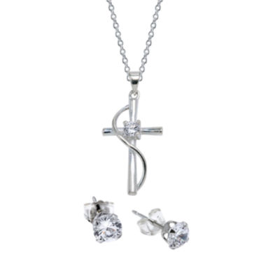 jcpenney.com | Sparkle Allure™ Silver Plated Cubic Zirconia Cross Pendant & Earring Set