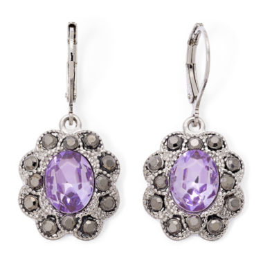 jcpenney.com | Monet® Purple Stone and Marcasite Earrings
