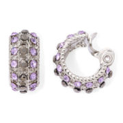 Monet® Purple Stone and Marcasite Clip-On Hoop Earrings
