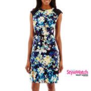 Worthington® Sleeveless Mesh-Shoulder Sheath Dress