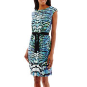 Worthington® Short-Sleeve Belted Knit Dress