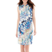 Worthington® Sleeveless Colorful Chiffon Shirtdress