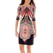 Studio 1® Elbow-Sleeve Knit Sheath Dress - Petite