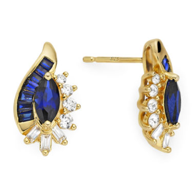 jcpenney.com | Lab-Created Blue and White Sapphire 14K Gold Over Sterling Silver Earrings