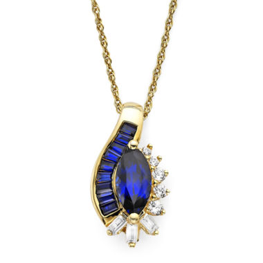jcpenney.com | Lab-Created Blue and White Sapphire 14K Gold Over Sterling Silver Pendant