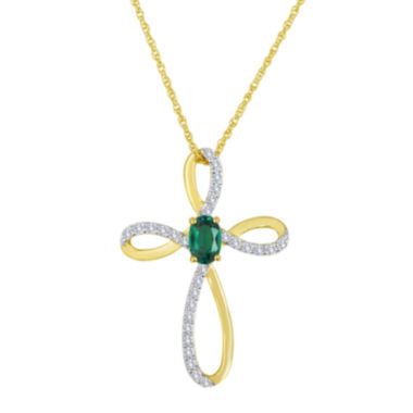 jcpenney.com | Lab-Created Emerald and White Sapphire Cross Pendant Necklace