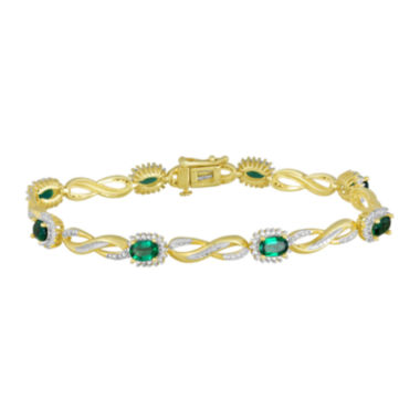 jcpenney.com | Lab-Created Emerald and Diamond-Accent Infinity Bracelet