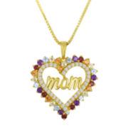 Genuine Multi-Gemstone Mom Pendant Necklace