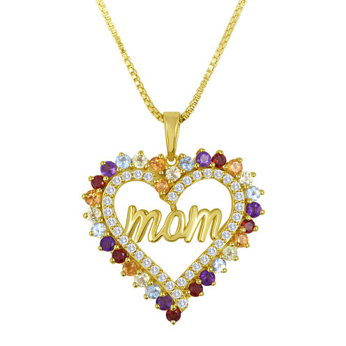 Genuine Multi-Gemstone Mom Pendant Necklace