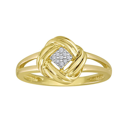 Diamond-Accent 10K Yellow Gold Love Knot Cluster Ring