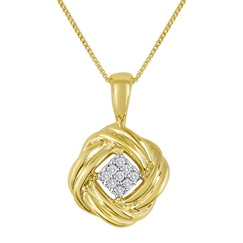 Diamond-Accent 10K Yellow Gold Love Knot Cluster Pendant Necklace
