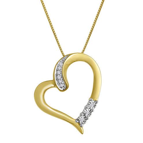 Diamond-Accent 10K Yellow Gold Tilted Openwork Heart Pendant