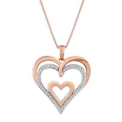 110 cttw diamond heart pendant in 14k rose gold over silver tw diamond openwork triple heart pendant necklace aloadofball Images