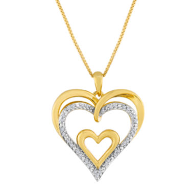 jcpenney.com | 1/10 CT. T.W. Diamond Openwork Triple-Heart Pendant Necklace