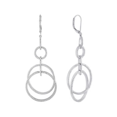 jcpenney.com | 1/10 CT. T.W. Diamond Silver-Plated Double-Circle Mobile Earrings