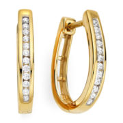 1/4 CTTW In 14K Yellow Gold Over Silver Diamond Hoop Earrings