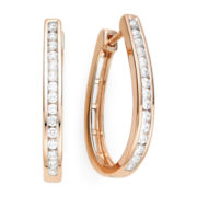 1/2 CT. T.W. Diamond 14K Rose Gold Over Sterling Silver Hoop Earrings