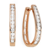 1 CT. T.W. Diamond 14K Rose Gold Over Sterling Silver Hoop Earrings