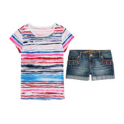 Arizona Stripe Favorite Tee or Tribal-Stud Shorties - Girls 7-16 and Plus