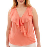 by&by Sleeveless Chiffon Surplice Ruffle Top - Plus