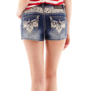 Soundgirl Lace-Yoke Denim Shorts