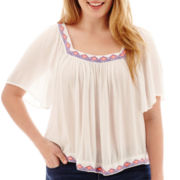 Arizona Short-Sleeve Peasant Top - Plus